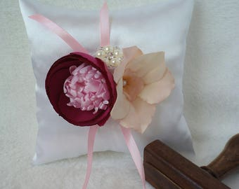 Orchella handmade pink-cream wedding bridal bearer ring pillow with orchid and peony flowers