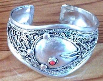 Vintage Style Coral TibetanSilver Cuff Bracelet