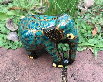 Hand painted wood elephant