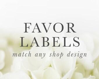 Printable Custom Favor Labels, Digital  - Made to Match Any Design - Bridal, Baby, Birthday, Baptism, Dedication Party Favor label