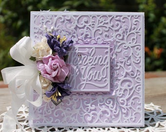 Thinking of you handmade card, OOAK card, Light Purple Roses, lilies, Flower Card
