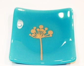"""Wish Dish Tuquoise Opal Glass & Silver Foil fused glass plate, 4.5"""" x 4.5"""" fused glass plate, dessert dish, trinket dish"""