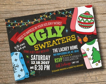 ugly sweater invitation ugly sweater christmas party invitation christmas party invitation ugly sweater - Ugly Sweater Christmas Party Invitations
