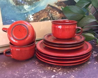 Red Ceramano Sunset Orange Ceramano Tea Trio West German Pottery Dinnerware Ceramano Cup Ceramano Plate Ceramano Dinnerware Ceramano Orange