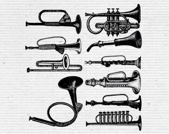 Trumpets and Horns Illustration, Digital Cliparts and Vectors in jpg, png, and eps