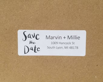Custom minimalist save the date address label with modern text