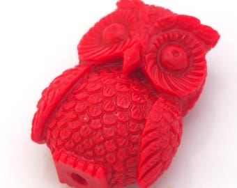 Large red OWL bead resin 30x22mm