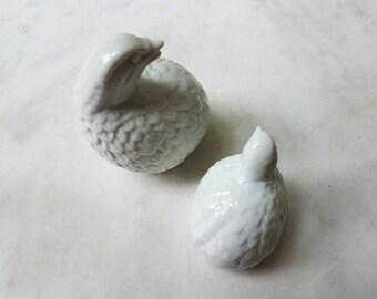 Mid Century Porcelain Partridge, White, Vintage, Quail