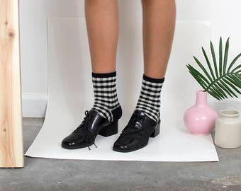 90s Kenneth Cole Mesh Oxford Mules / Block Heels / Minimalist Tap Shoe Heels / Mary Janes / Size 6.5