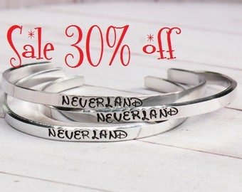 SALE 30% off Peter Pan Neverland Skinny 4.5mm Stacking Cuff Bracelets - Hand Stamped inspired jewelry quote bracelet | Peter Pan Jewelry