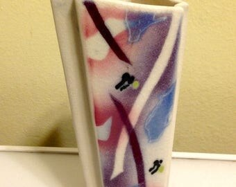 Presidential Savings Vintage Abstract 3 Sided Angled Vase Signed Hagen
