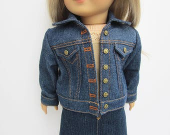 Blue denim jean jacket for 18 inch doll such as American Girl and My Imagination