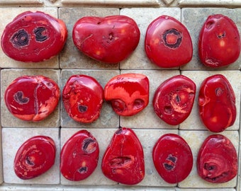 Red fossilized sea bamboo beads