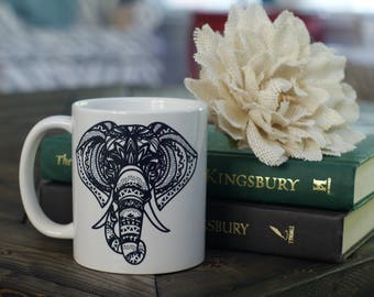 Tribal Elephant Coffee Mug - Elephant Mug