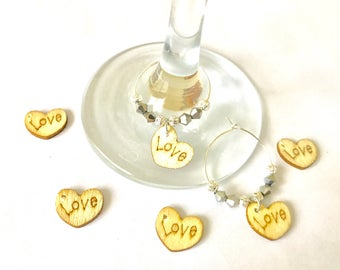 100 x Rustic wedding favors wine glass charms country style wooden charms love wine charms