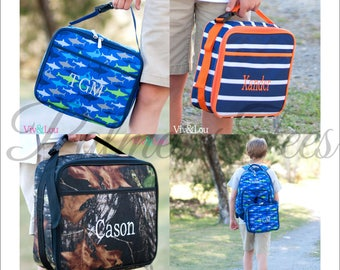 Personalized Lunch Box Available in 3 Patterns! (Boys Back to School Lunch Bag Embroidered with Name or Monogram) M382