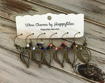 Hot Air Balloon, Wine Charm, Six Wine Charms, Balloon Ride, Wine Gift, Wine Accessory, Beer Glass ID, Party Favor, Bronze Decor