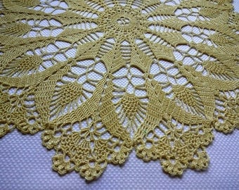 Crochet doily, openwork knitted doily, large doily. Round crochet centerpiece. Yellow elegant crochet doily. Tablecloth crocheted lace doily