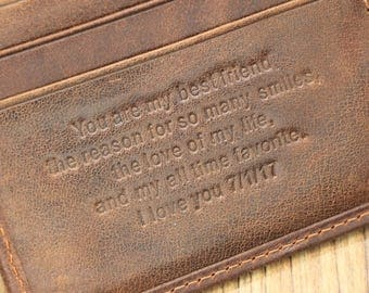 Personalized Wallet; Anniversary Gift for Men; Father's Day Gift; Xmas Gift; Graduation Gift; groomsmen gifts; Christmas Gift; Men's Wallet