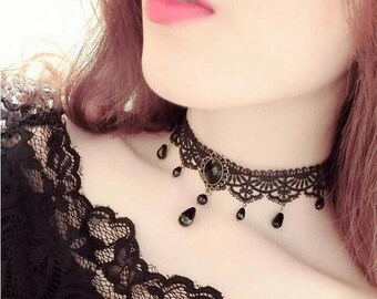 Black Lace Crystal Choker