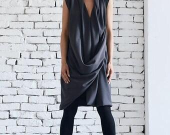 ON SALE Extravagant Short Dress/Grey Twisted Tunic/Casual Short Summer Dress/Plus Size Work Dress/Asymmetric Tunic Top by METAMORPHOZA