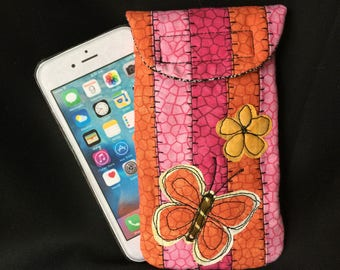iPhone 6/7 case, Quilted Butterfly, medium size Smart phone case, Gadget case. medium phone pouch, iPhone 6/7 bag,eyeglass, phone case 6#22