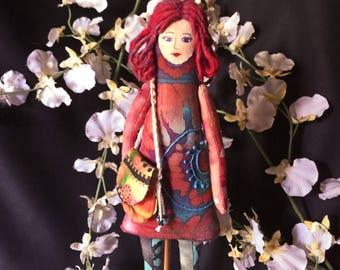 Art Doll, Oringinal design, Fiber art doll, Cloth Art Doll, Stylish Lady, figurines art objects, OOAK Unique, stuffed doll, cloth doll #6