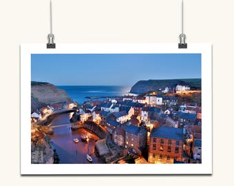 CANVAS ART Staithes Landscape Photography Landscape Photography Prints Canvas Photography Wall Canvas Boat Photography Harbor Blue Hour