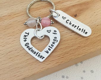 personalised godmother gift, godmother, godparent gift, godmother gift, personalised gift, gifts for aunt, personalised keyring, auntie, uk