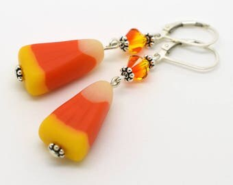 Polymer Clay Candy Corn Earrings - Sterling Silver & Swarovski Crystal Jewelry