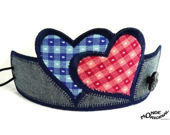 Japanese fabric and denim hearts bracelet