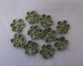 SET OF 10 FLOWERS KHAKI CROCHET FOR SCRAPBOOKING