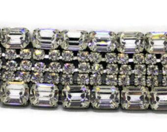 Classic Vintage 1950 Wide Rhinestone Bracelet Signed Weiss Marilyn Monroe Style Bridal Bracelet Rhinestone Jewelry