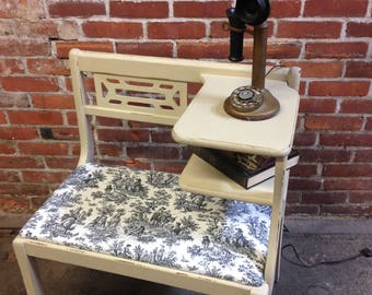 Vintage gossip bench, telephone table, chair, bench