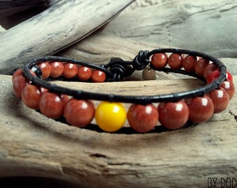 Bracelet wrap Man, black leather, brown wood hazelnut, yellow red and black baked porcelain , Boho jewelry , By Dodie