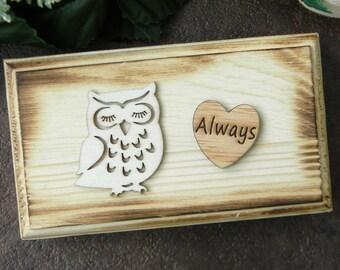 Set of 2 Rustic Ring Bearer Box, Owl Ring Bearer Pillows, Always Wooden Heart Ring Box, Set of Two Ring Bearer Boxes, Rustic Ring Bearer Box