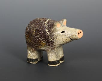 Javelina Child Sculpture, Southwest Ceramics, Baby Javelina of Micaceous Clay by Karlene Voepel