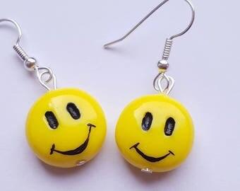 """Earrings """"Smiley"""" Couleur-lavande polymer clay"""