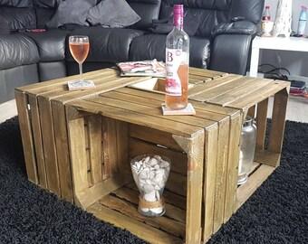 caisse vin bois fait la main belle table basse style. Black Bedroom Furniture Sets. Home Design Ideas