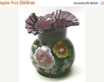 Summer Sale Ruffled Vase Hand Painted on Amethyst Glass