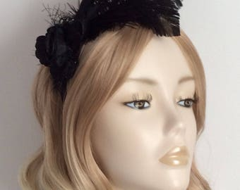 BLACK FASCINATOR, With cut coque, ostrich feathers, organza flower,  bead detail, all on 2.5cm Black satin headband