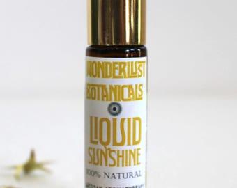 LIQUID SUNSHINE PERFUME. Sweet Fresh Essential Oil fragrance. free shipping. anti - depressent, , uplifting scent. 10ml glass roll on bottle