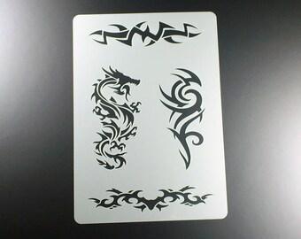 Stencil Dragon Tribal 4 tattoo motifs-BT09