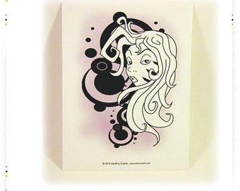 "Postcard illustration ""girl"" pink and black card"