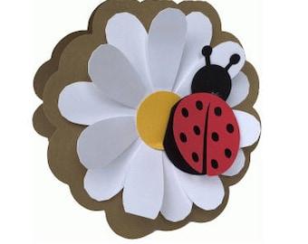 Daisy and Ladybug Card , Blank inside , Spring , Fresh , All Occasions , Free Confetti , PaperCut , Flower , Friend