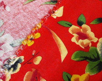 chinese fabric traditionnal peony cotton linen Red 2m