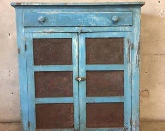 19th Century Blue original Painted Pie Safe (HVG1XS)