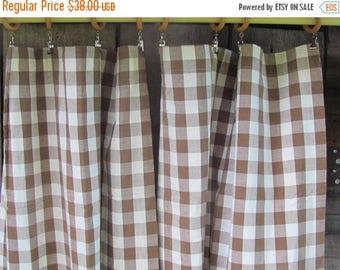"20% OFF Pair of Swedish Vintage Curtain Panels W24""x H48.5"" Wood Brown & White Gingham Curtains; Nordiska Kompaniet Gingham Cotton Kitchen C"