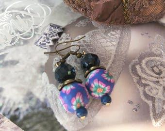 Earrings ' romantic earrings ethnic purple blue