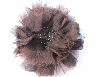 DARK BROWN CREPE CHIFFON FLOWER BROOCH EMBROIDERED BEAD 10 CM